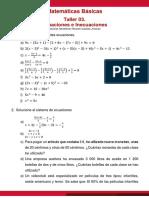 Taller 03. Ecuaciones e Inecuaciones