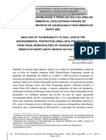 Análise Da Vulnerabilidade à Perda de Solo Na Área de Proteção Ambiental (APA)