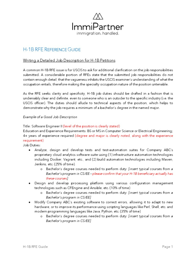 h 1b Rfe Guide Immipartner for a16z | Employment | Computing