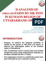 Trend Analysis of Precipitation by MK Test in Kumaon Region of Uttarakhand (1901-2010)
