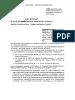 Solicitud Municipal Solicitando Emita Opinion Sobre Contravencion Certificado de Parametros Urbanisticos y Edificatorios