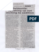 Philippine Star, Aug. 8, 2019, Belmonte Speaking up not inciting to sedition.pdf