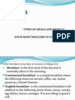 3. Type of Meal and Menu