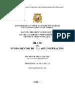 Syllabus Fundamentos de Administración 2016-1