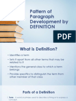 Patterns of Paragraph Development By Definition