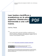 Carlino, Paula (2005). Leer Textos Cientificos y Academicos en La Educacion Superior Obstaculos y Bienvenida a Una Cultura Nueva
