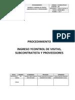 Ingreso y Control de Visitas , Subcontratistas y Proveedores 09.06.2019-V00