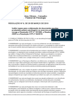 Resolução Do Exercício Profissional 6 2019 Do Conselho Federal de Psicologia BR