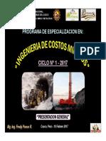1) Presentacion - Especializacion. Ing. Costos Mineros 2017 - Unsacc (10-Feb-17)