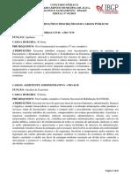 ANEXO II – Atribuições Dos Cargos Públicos – Descrições Dos Cargos