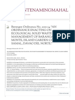 "Barangay Ordinance No. 2011-24 ""an Ordinance Enacting on Ecological Solid Waste Management of Barangay Del Monte, Island Garden City of Samal, Davao Del Norte."" _ Delmontenamingmahal"