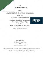 The Antiphons upon Magnificat & Nunc Dimittis