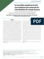 Utilização de macrófitas aquáticas de três diferentes tipos ecológicos para remoção de Escherichia coli de efluentes de criação de pacu