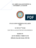 B.tech 2nd Year Electrical & Electronics AICTE Model Curriculum 2019-20