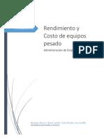 Analisis de Rendimiento y Costo de Equipo Pesado