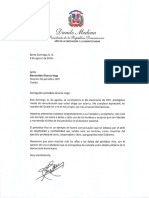 Carta de felicitación del presidente Danilo Medina con motivo del 38 aniversario del periódico Hoy
