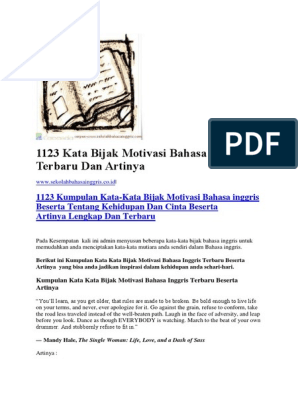 1123 Kata Bijak Motivasi Bahasa Inggris Terbaru Dan Artinya