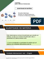 QUANTIDADE DE MATÉRIA- unidade de medida MOL