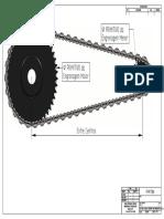 Cadeia de Corrente Com Engrenagem Com 45 e 16 Dentes-front View