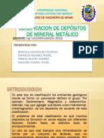 CLASIFICACION de Depósitos de Mineral Metálico