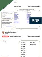 Cambridge Exam Dates Flyer 2020