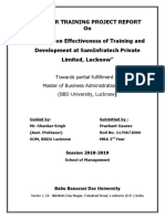 A Study on Effectiveness of Training and Development at SamInfratech Private Limited, Lucknow