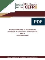 Dictamen del Presupuesto de Egresos de la Federación 2019 para el Estado de Chiapas