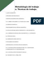 Tema 2 – Metodología Del Trabajo Geográfico. Técnicas de Trabajo.