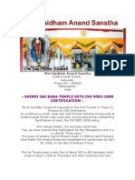 ISO Certificate for Shri Sai Baba Temple`Thane, Maharashtra