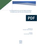 Lista Descriptiva de Los Factores Internos y Externos Que Afectan Una Oganización