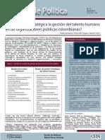 ¿Cómo hacer estratégica la gestión del talento humano en las organizaciones públicas colombianas?