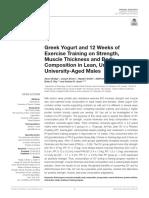 Greek Yogurt and 12 Weeks of Exercise Training on