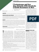 Associação de Testosterona e Globulina Ligadora de Hormônios Sexuais Com Síndrome Metabólica e Resistência à Insulina Em Homens