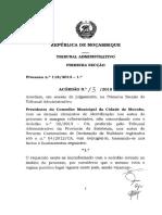 Acórdão n.º 13-2018 - Processo n.º 118-2013 - Presidente Do Conselho Municipal de Mocuba