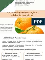 Recomendações de correção e adubação para citros