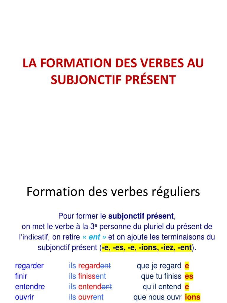 Formation Des Verbes Au Subjonctif Present Verbe Semantique