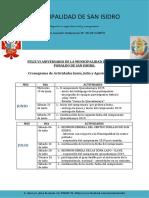 Cronograma de Actividades Aniversario 2019.