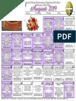 2019 August Festal Calendar