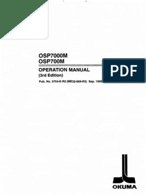 Okuma Cnc Systems Special Functions Manual No.1 Osp7000M /& OSP700m Used