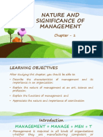 1. Nature & Significance of Management