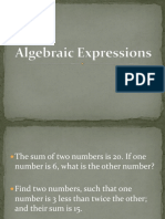 13. Algebraic Expressions