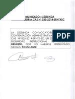 Cusco Segunda Convocatoria CAS 005-2014 Comunicado