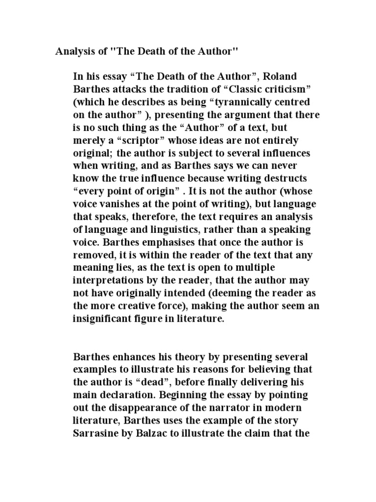 roland barthes the death of the author essay Ebscohost serves thousands of libraries with premium essays, articles and other content including rejection of authorship in roland barthes's.