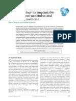 Article 4 Nanotechnology for Implantablesensors Carbon Nanotube and Graphene in Medicine