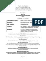 syllabus entrepreneurial management