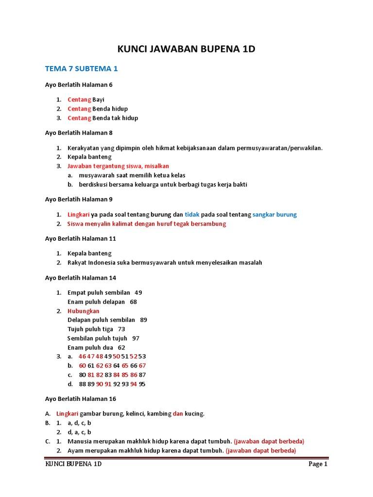 Kunci Jawaban Bupena 1d K13 Revisi