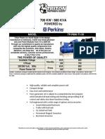 880 KVA Perkins Diesel Generator Set - Non EPA - 50Hz TP-P880-T1-50 - Updated-1