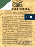 El colibrí prensa venezolana 1827