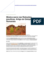 Música Sacra Nas Reduções Jesuíticas.