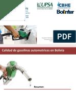 Calidad de Gasolinas Automotrices en Bolivia